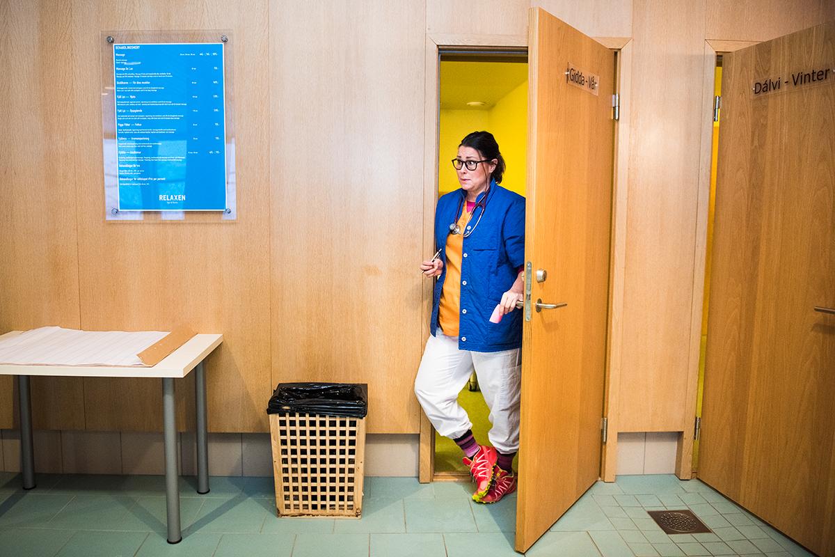 Tillfällig och provisorisk vårdcentral i Riksgränsens hotells spa-avdelning.