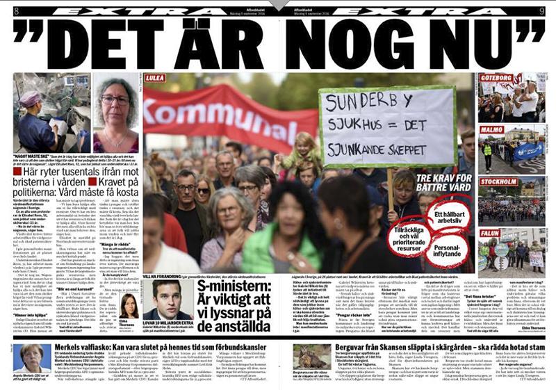 Protester runt om i Sverige mot vårdsituationen.