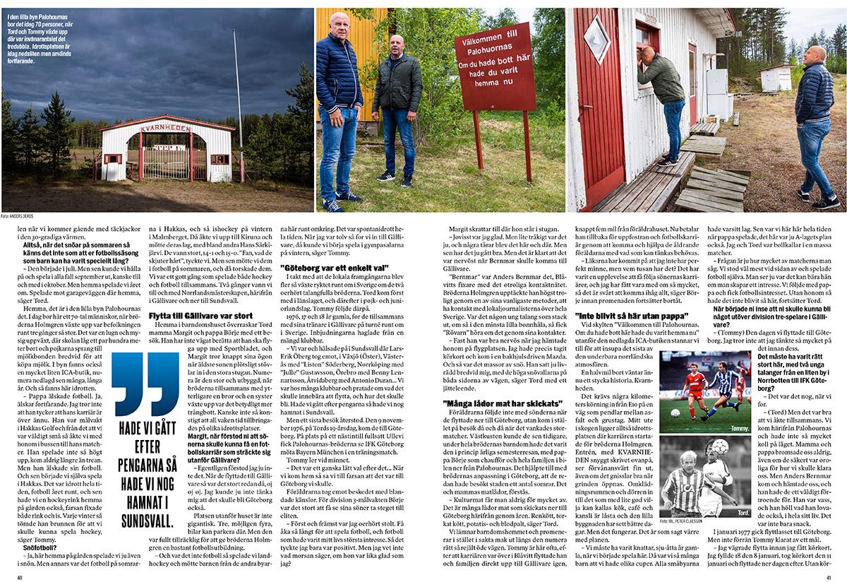 Bröderna Holmgren från Palohuornas till Sportbladets Blåvitt-bibel.