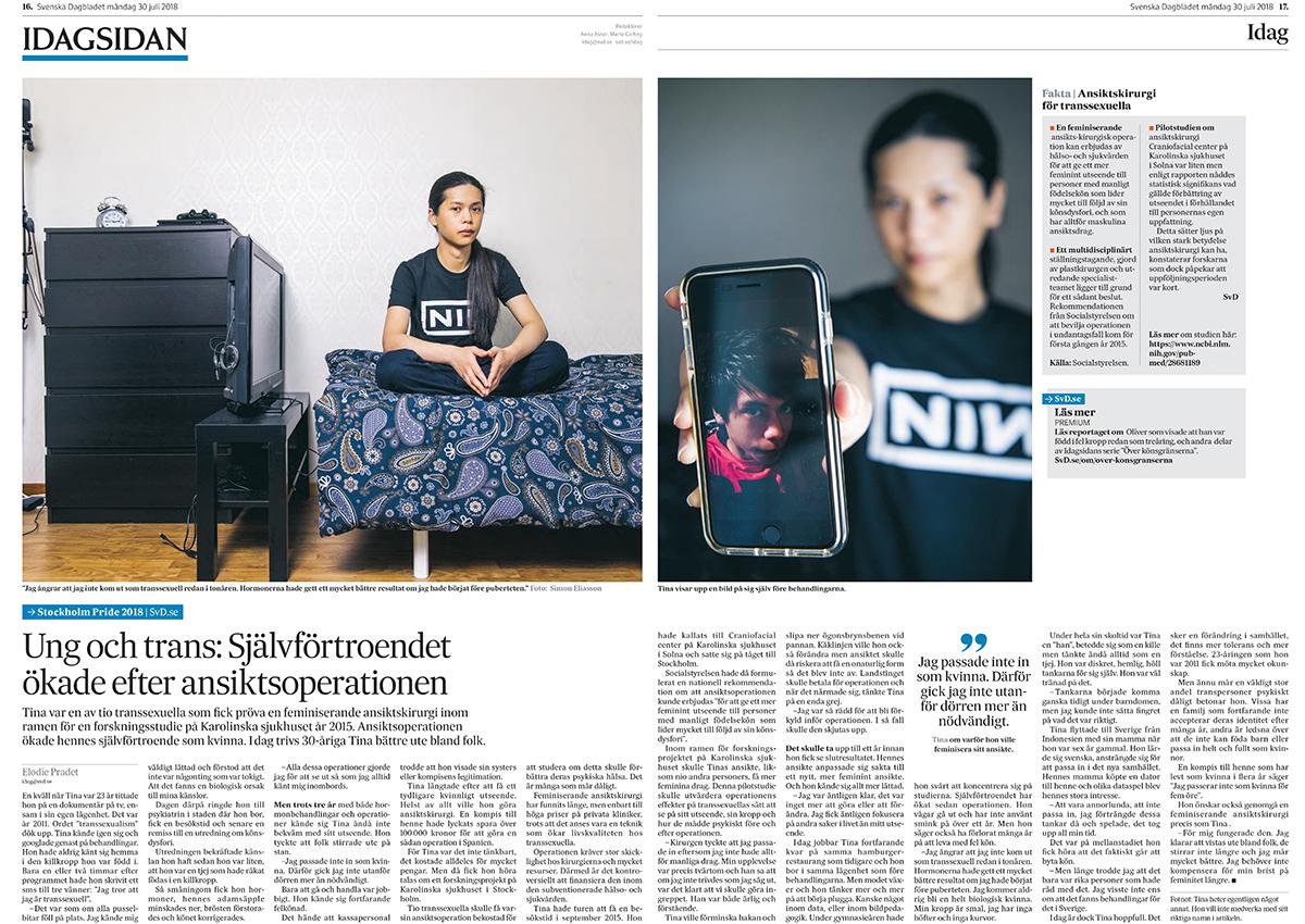 """""""Tina"""" för Svenska Dagbladet."""